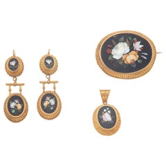 Pietra Dura Pendant Brooch and Earrings Suite, circa 1870