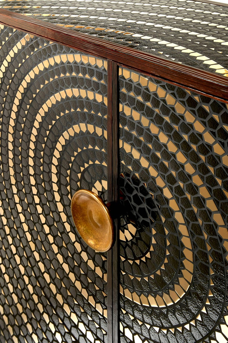 Pinewood Cabinet Veneered with a Mosaic of Black and Gold Ceramic In Excellent Condition For Sale In Paris, FR