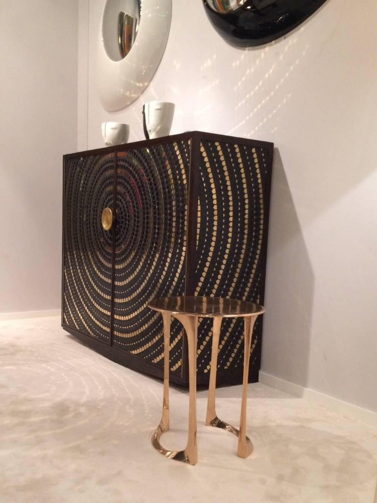Contemporary Pinewood Cabinet Veneered with a Mosaic of Black and Gold Ceramic For Sale