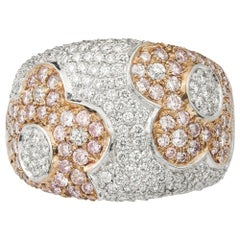 Pink and White Diamond Pave Ring