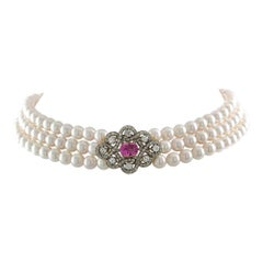 A Pink Sapphire, Diamond and Cultured Pearl Necklace