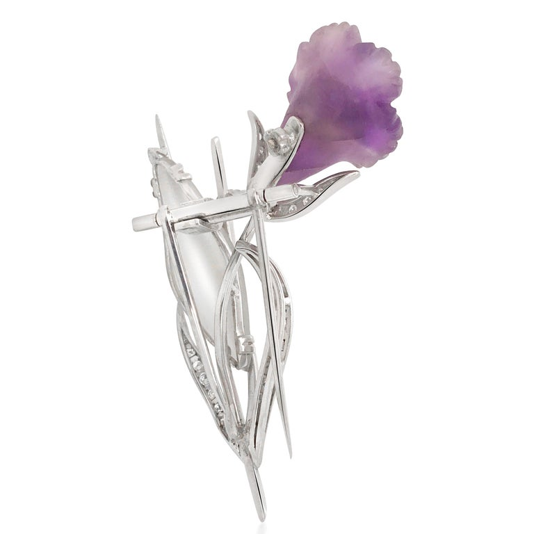 Round Cut Platinum, Diamond, Amethyst and Rock Crystal Floral Motif Brooch For Sale