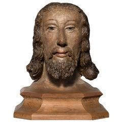 Polychrome Terracotta Head of Christ