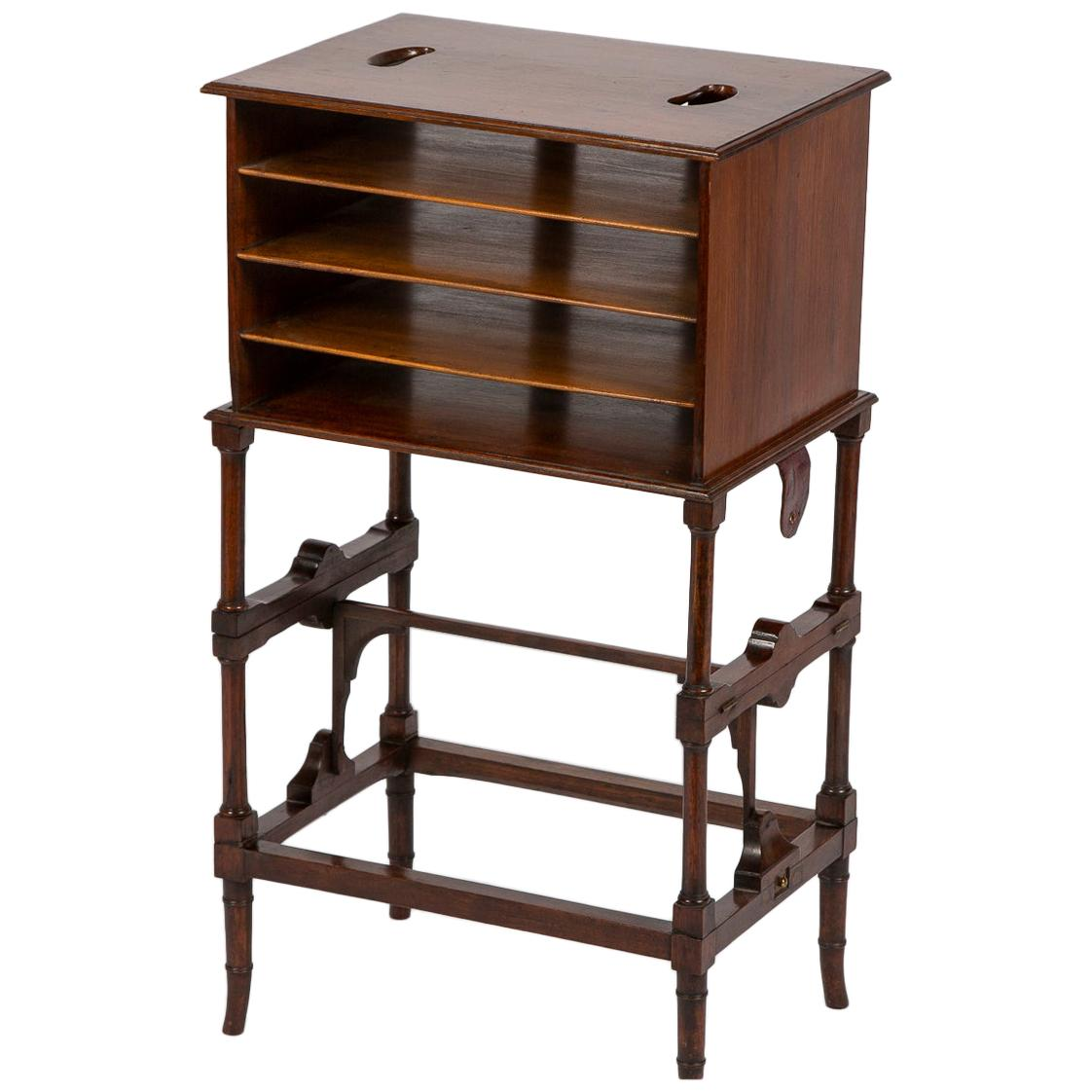 Portable Walnut Magazine Rack of Two Heights