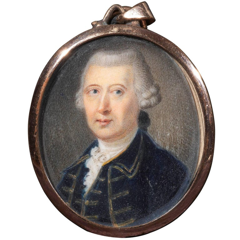 Portrait Minature Pendant with Gold Frame, Late 18th Century