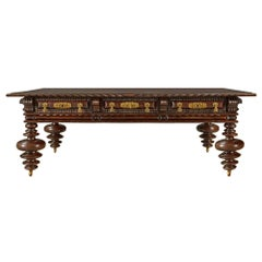 Portuguese 19th Century Rosewood and Brass Coffee Table