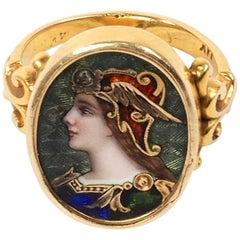 Pre-Raphaelite Enamel and Diamond Ring Depicting a Viking Maiden