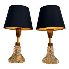 Pretty Pair of 1950s Barovier & Toso Lamps with Murano Twisted Glass Base