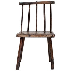 Primitive Naive Rustic 19th Century Vernacular Irish Stick Back 'hedge' Chair