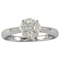 A Princess and Marquise-Cut Diamond Cluster Ring
