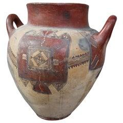 Purple and Beige Ceramic Vase, South America, 19th Century