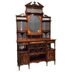 Quality Mahogany Inlaid Late Victorian Period Chiffonier