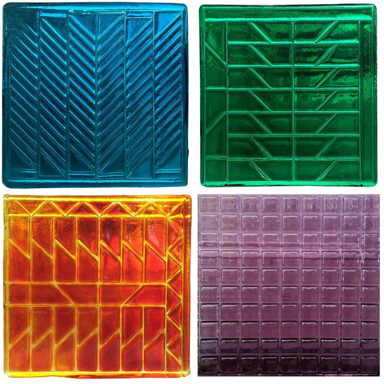 Quantity of Midcentury Small Murano Glass Panels, Blue, Green, Yellow and Lilac