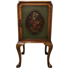 Queen Anne Style Walnut 1920s Period Bedside Cabinet