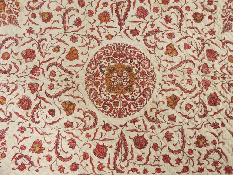 Women's or Men's A Quilting Indian Chintz Palampore And Taffeta Bedcover Circa 1720/1750  For Sale
