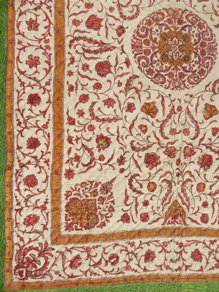 A Quilting Indian Chintz Palampore And Taffeta Bedcover Circa 1720/1750  For Sale 1