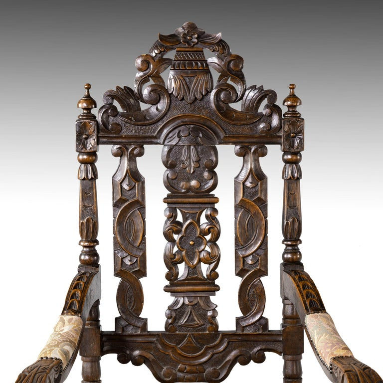 Quite Exceptional Set of 6 '4+2' 17th Century Style Oak Chairs For Sale 5