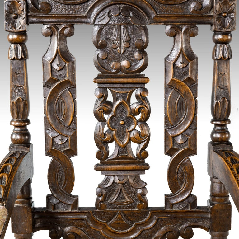 Quite Exceptional Set of 6 '4+2' 17th Century Style Oak Chairs For Sale 7