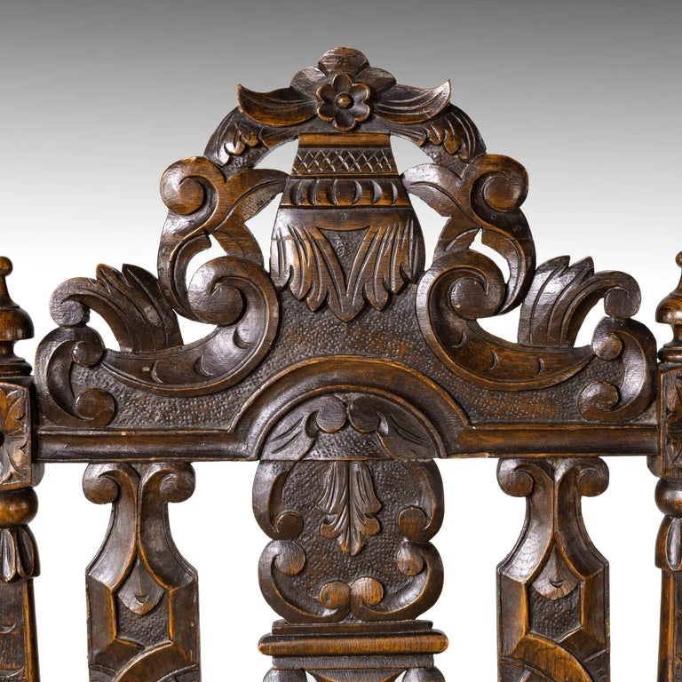 Quite Exceptional Set of 6 '4+2' 17th Century Style Oak Chairs For Sale 8