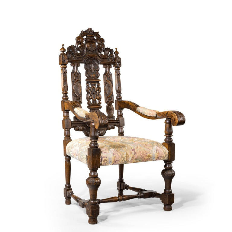 Quite Exceptional Set of 6 '4+2' 17th Century Style Oak Chairs For Sale 10