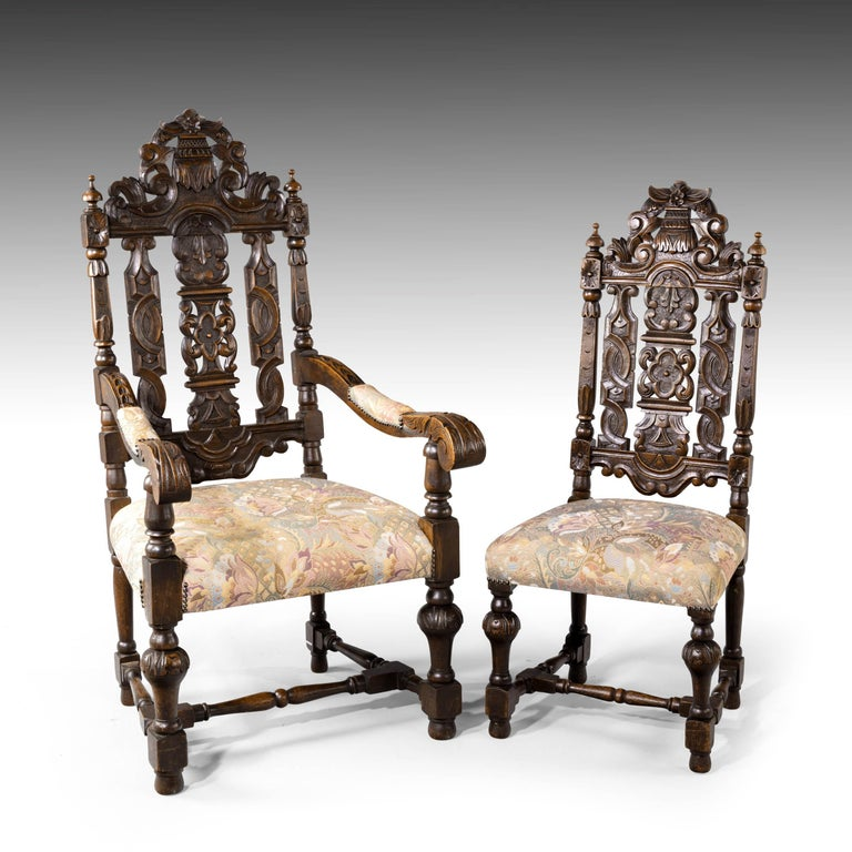 Quite Exceptional Set of 6 '4+2' 17th Century Style Oak Chairs For Sale 12