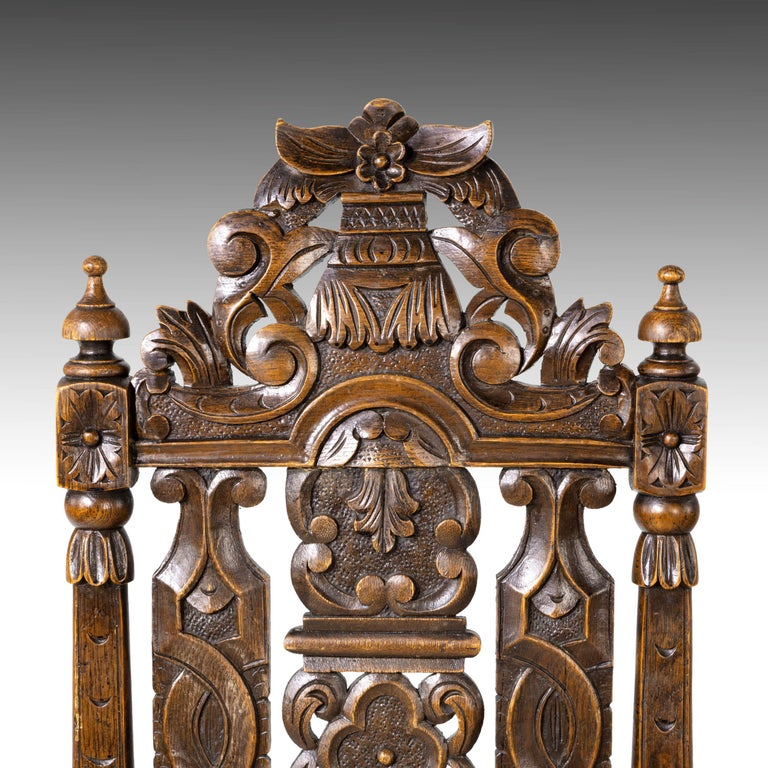 Quite Exceptional Set of 6 '4+2' 17th Century Style Oak Chairs For Sale 14