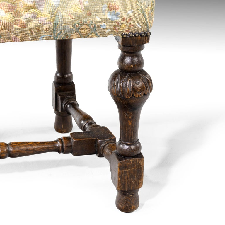 English Quite Exceptional Set of 6 '4+2' 17th Century Style Oak Chairs For Sale