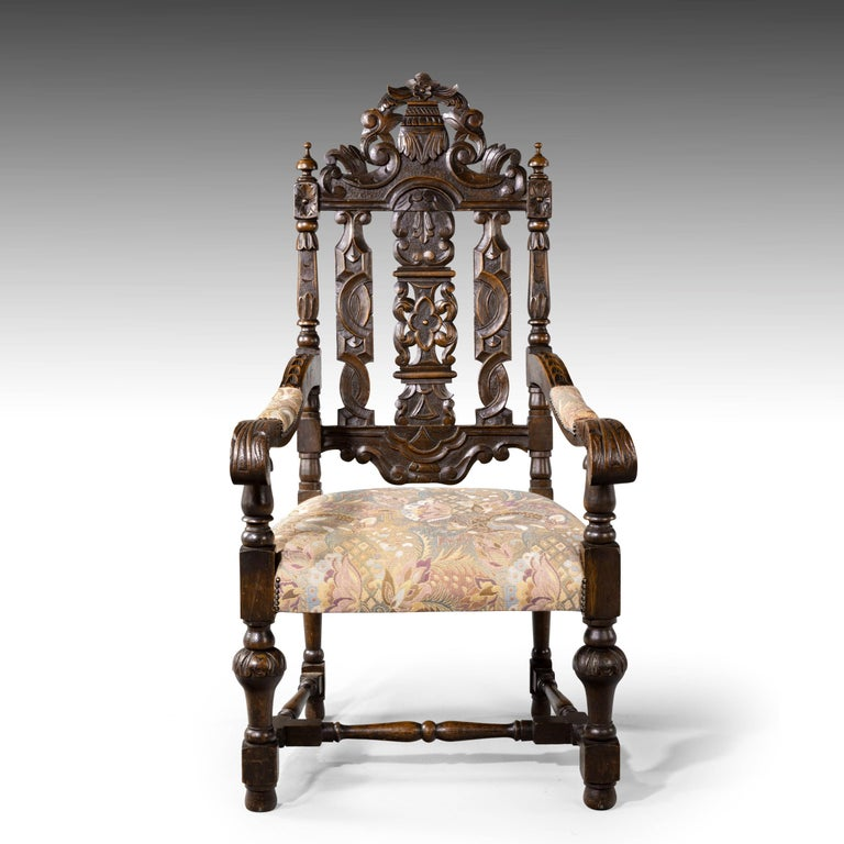 Quite Exceptional Set of 6 '4+2' 17th Century Style Oak Chairs For Sale 4
