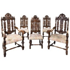 Quite Exceptional Set of 6 '4+2' 17th Century Style Oak Chairs