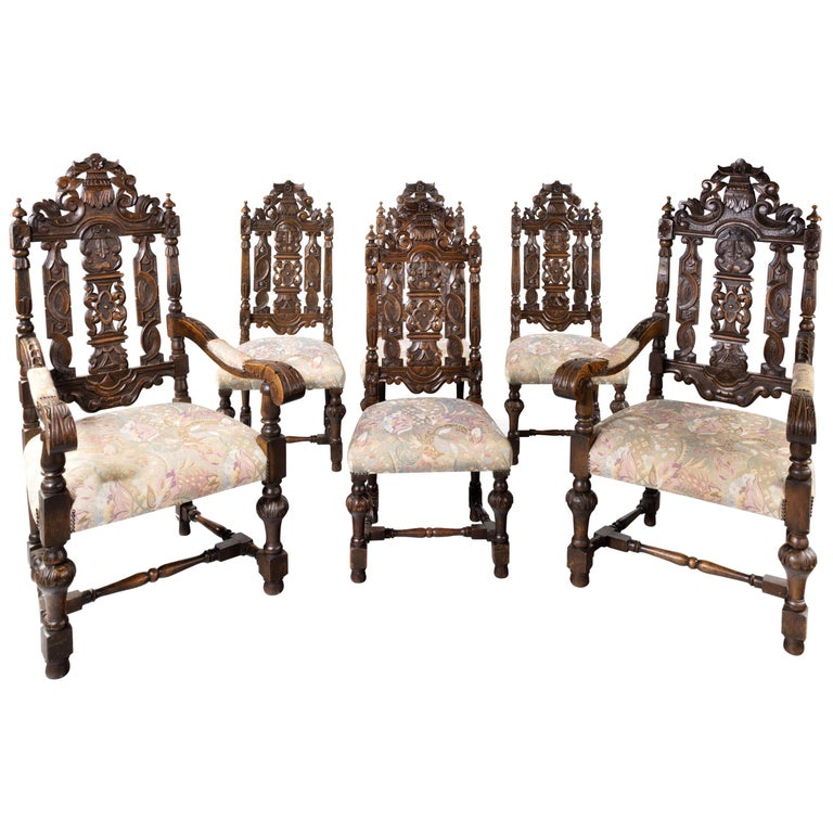 Quite Exceptional Set of 6 '4+2' 17th Century Style Oak Chairs For Sale