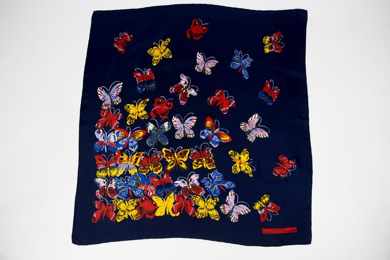 Circa 1990/2000  France  Beautiful reissue of a silk square after a drawing by Raoul Dufy, Maison Bianchini-Férier made for the former Musée Guimet in Lyon which closed his doors in 2008. Silk twill square with marine background finely rolled by