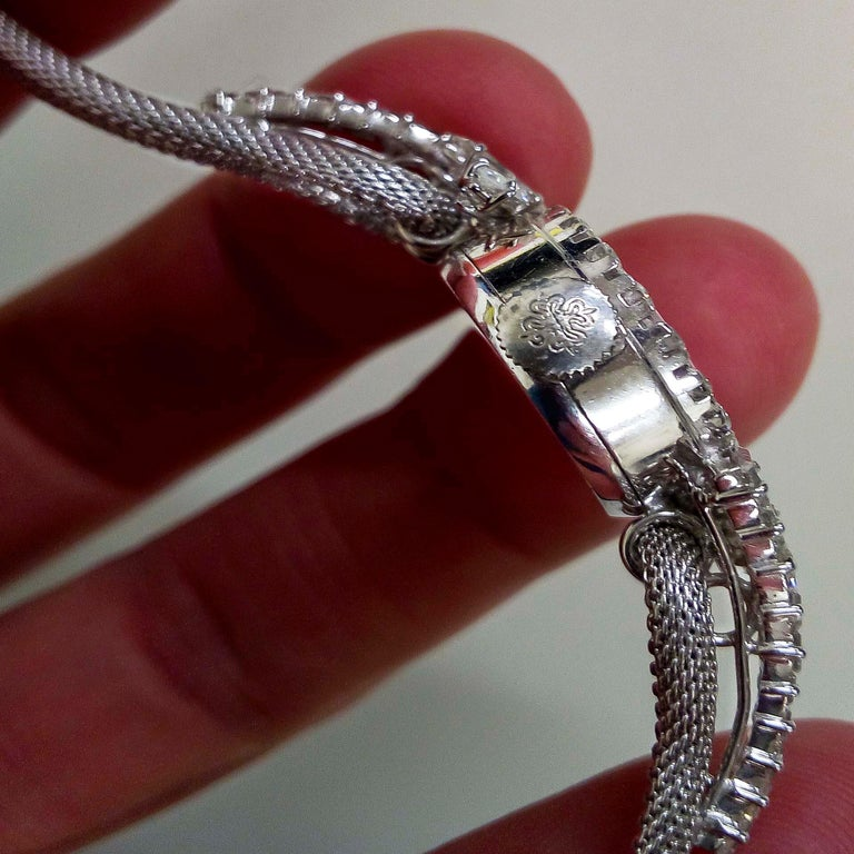 Retro Rare 1950s-1960s Patek Philippe Platinum Triple Diamond Twist Motif Bracelet For Sale