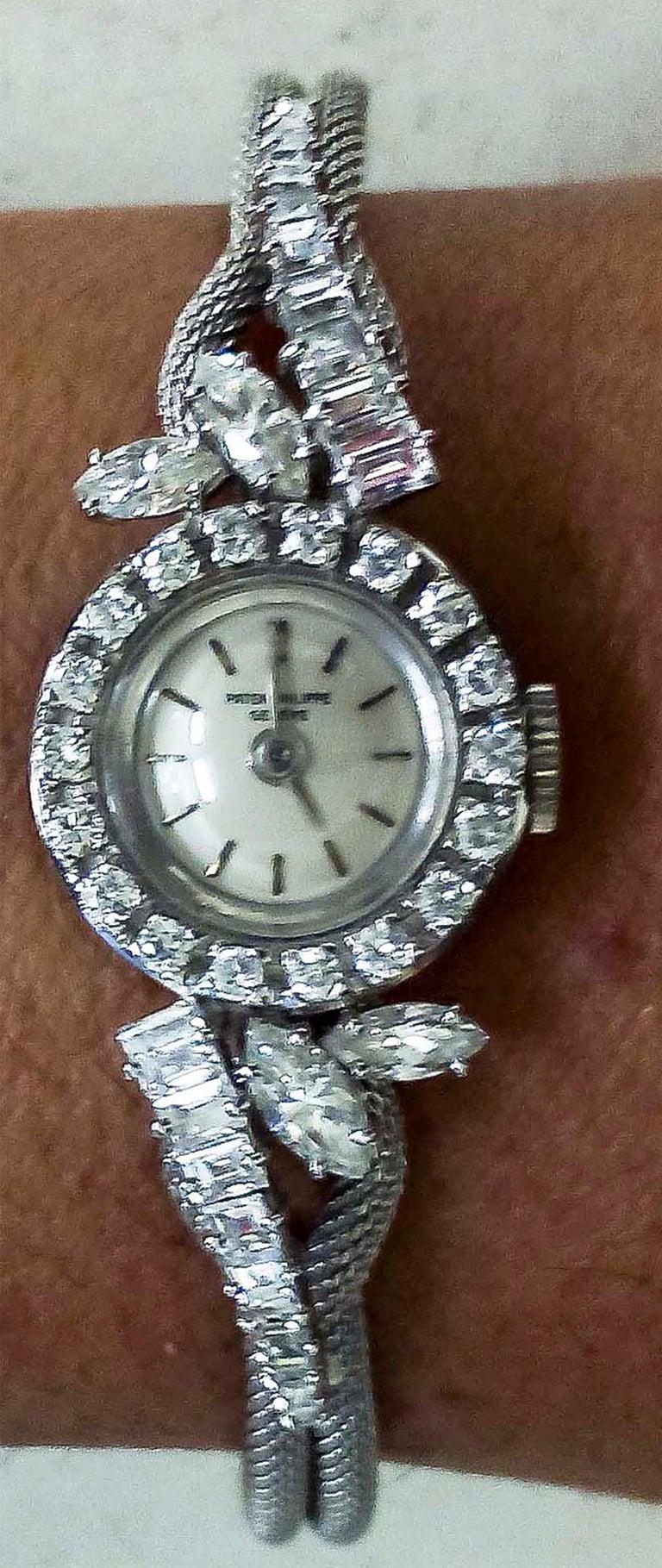 Rare 1950s-1960s Patek Philippe Platinum Triple Diamond Twist Motif Bracelet In Excellent Condition For Sale In New york, NY