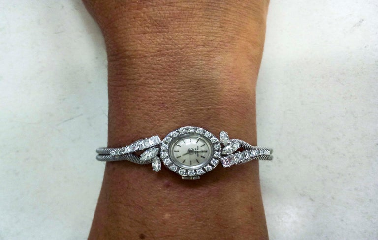 Women's or Men's Rare 1950s-1960s Patek Philippe Platinum Triple Diamond Twist Motif Bracelet For Sale