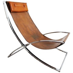 Rare 1970s Leather & Chrome Lounge Chair by Marcello Cuneo