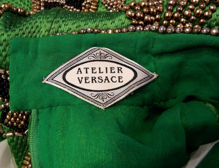 A Rare 1990 Versace Atelier Egyptian One-of-a-Kind Heavily Beaded Runway Gown For Sale 5
