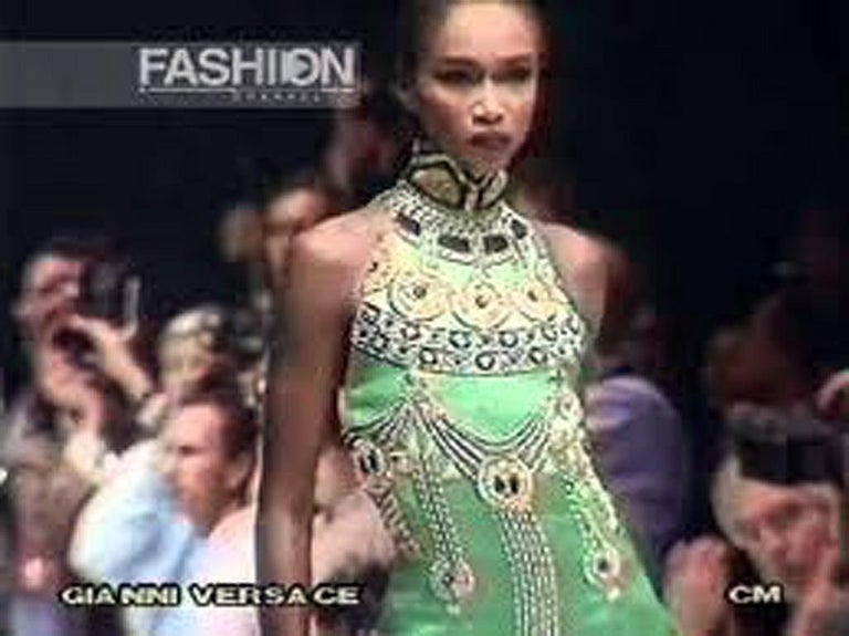 A Rare 1990 Versace Atelier Egyptian One-of-a-Kind Heavily Beaded Runway Gown For Sale 6