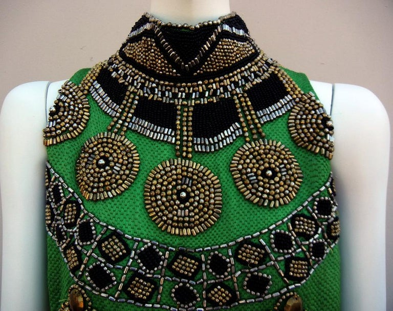 Black A Rare 1990 Versace Atelier Egyptian One-of-a-Kind Heavily Beaded Runway Gown For Sale