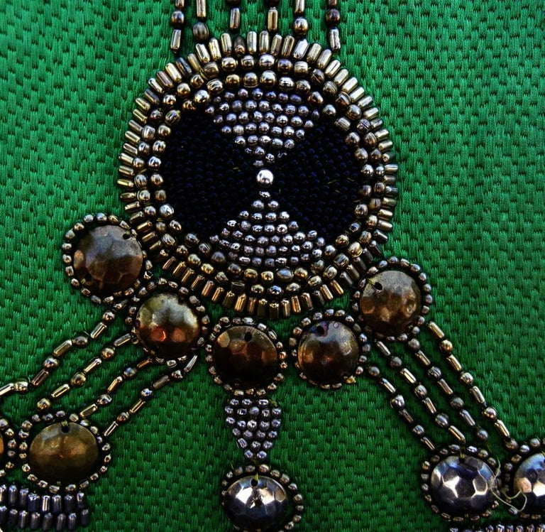 A Rare 1990 Versace Atelier Egyptian One-of-a-Kind Heavily Beaded Runway Gown In Good Condition For Sale In Los Angeles, CA