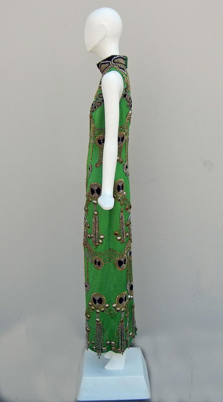 Women's A Rare 1990 Versace Atelier Egyptian One-of-a-Kind Heavily Beaded Runway Gown For Sale