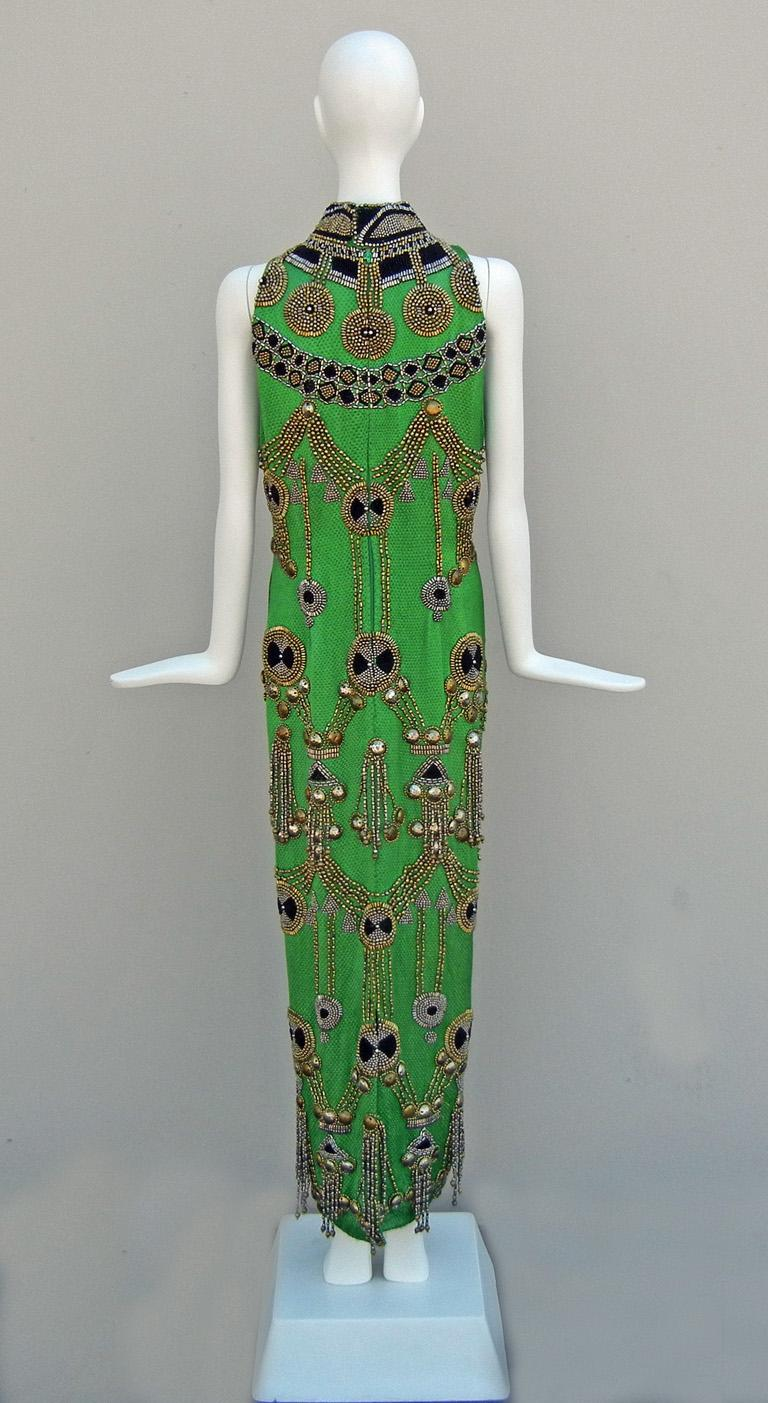 A Rare 1990 Versace Atelier Egyptian One-of-a-Kind Heavily Beaded Runway Gown For Sale 1