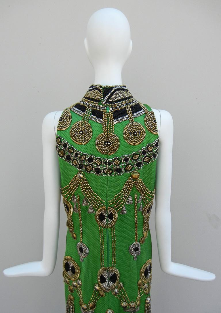 A Rare 1990 Versace Atelier Egyptian One-of-a-Kind Heavily Beaded Runway Gown For Sale 2