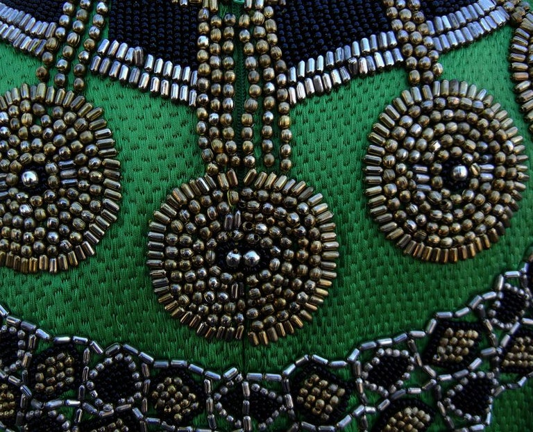 A Rare 1990 Versace Atelier Egyptian One-of-a-Kind Heavily Beaded Runway Gown For Sale 3