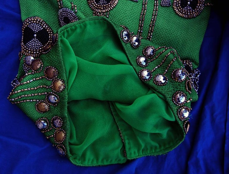 A Rare 1990 Versace Atelier Egyptian One-of-a-Kind Heavily Beaded Runway Gown For Sale 4