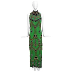 A Rare 1990 Versace Atelier Egyptian One-of-a-Kind Heavily Beaded Runway Gown