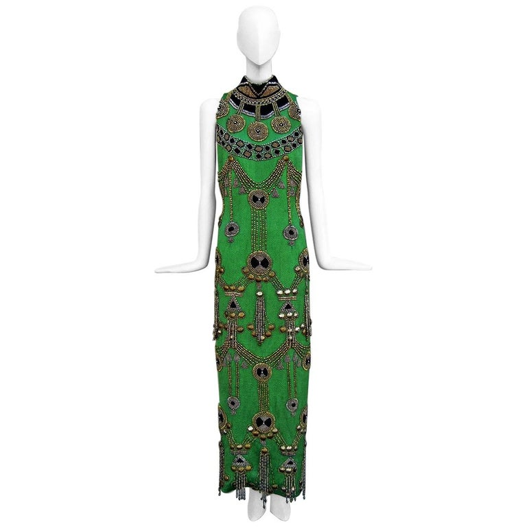 A Rare 1990 Versace Atelier Egyptian One-of-a-Kind Heavily Beaded Runway Gown For Sale