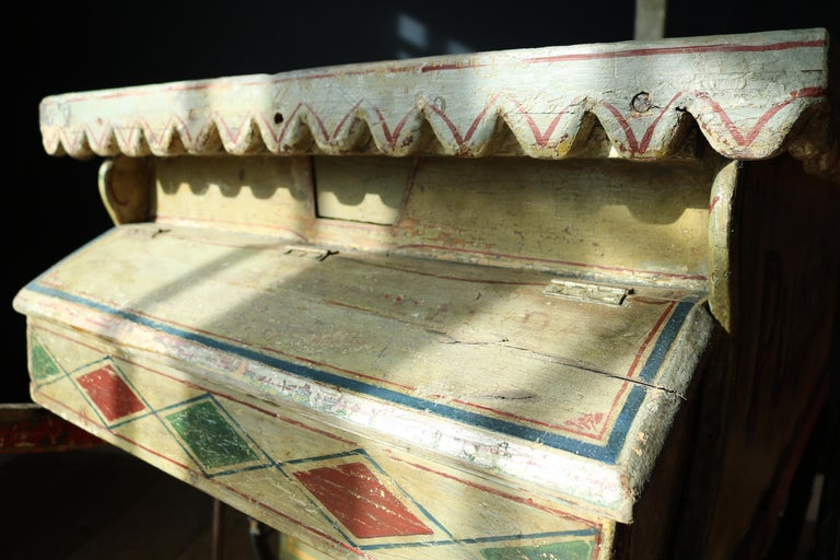 """An extremely rare 19th century Welsh Italian ice cream cart from Aberystwyth Wales, UK. Painted on the back of the cart with a British and Italian flags and written """"J.Burnett Coach Builder Forge St Pentre"""" It's beautifully decorated throughout with"""