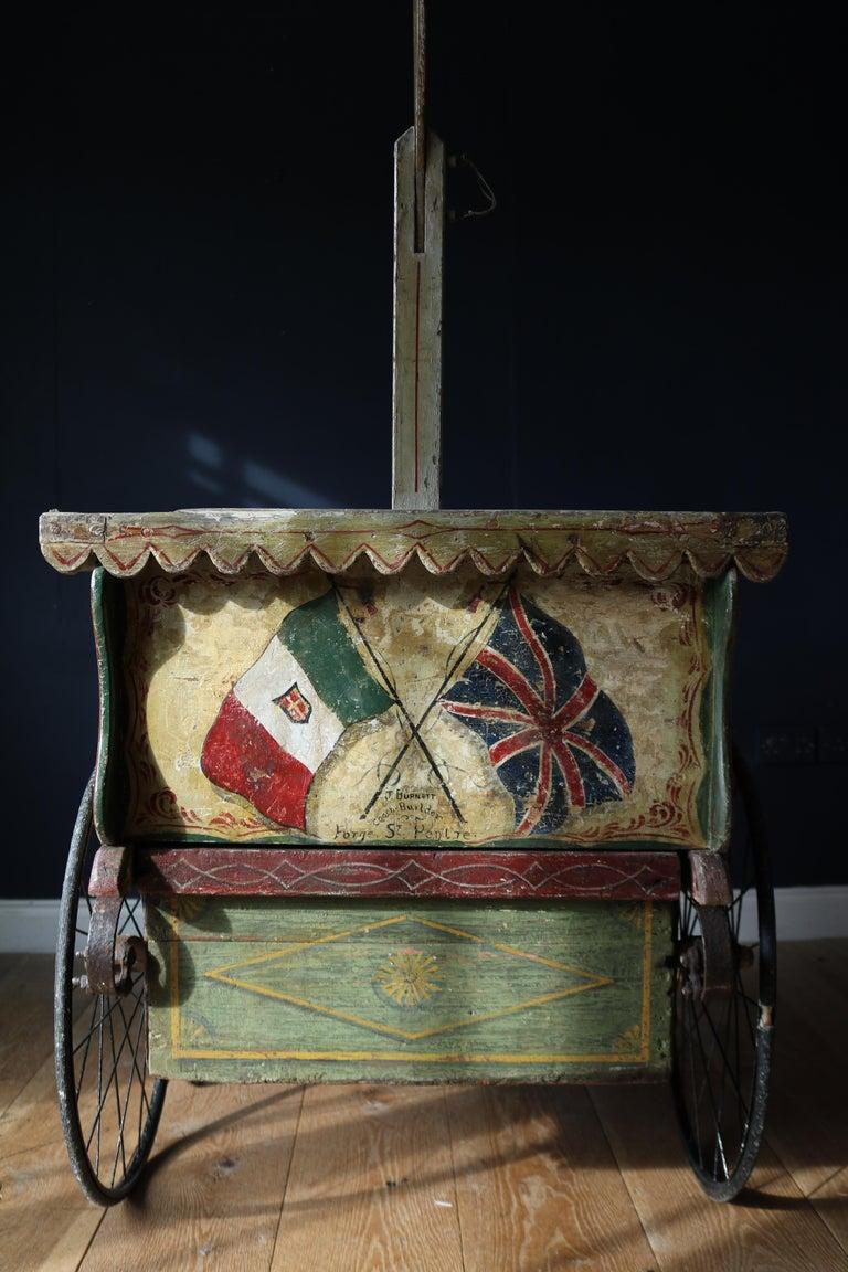 Painted Rare 19th Century Ice Cream Cart For Sale