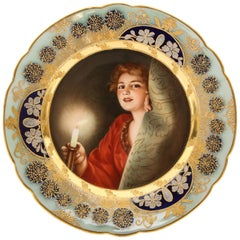Rare and Exceptional Art Nouveau Royal Vienna Porcelain Plate by Wagner