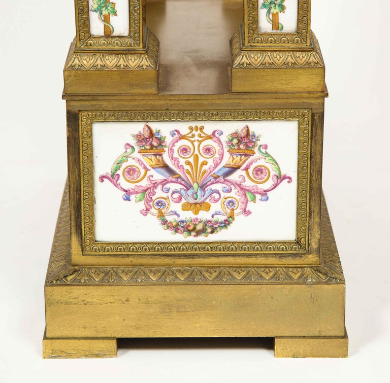A Rare and Exquisite French Ormolu and Porcelain Clock, attributed to Deniere  For Sale 5